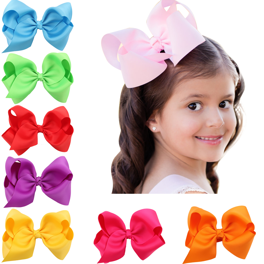 1 pcs 6 inch boutique kids big baby for ribbon hair clip bows with for girls