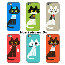 Buy latest cute transparent hard shell protective shell phone sets cute cat cases involving cover Apple iphone 5C case for $1.47 in AliExpress store