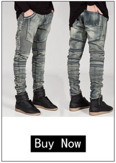 2016 male straight leg denim trousers fashion Ripped Jeans mens business jean pants black casual jeans men Retro Trousers