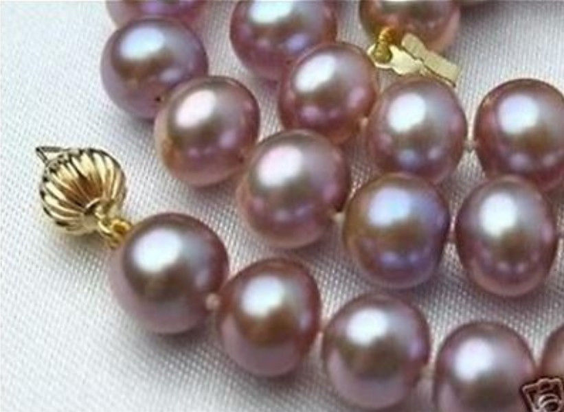 8-9mm Pink Purple Akoya Shell Pearl Necklace For Women Rope Chain Beads Fashion Jewelry Natural Stone 17inch (Minimum Order1)(China (Mainland))