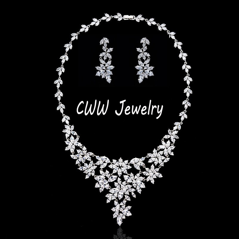 Luxury Bridal Wedding Jewelry , Silver-Plated AAA+ Cubic Zircon Stones Crystal Big Flower Wedding Necklaces Earrings Set (T046)<br><br>Aliexpress