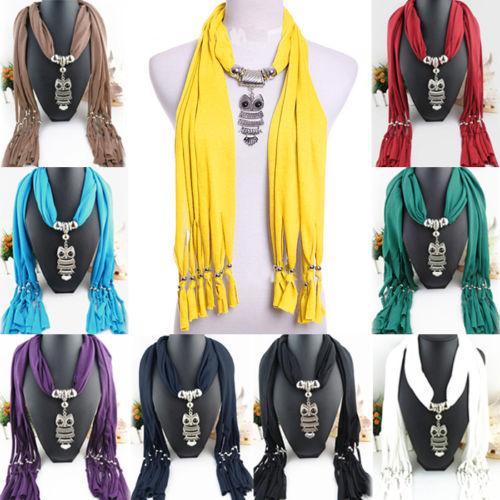 Elegant Women Ladies Necklace Scarves Owl Pendant Jewelry Tassels Scarf Shawl(China (Mainland))