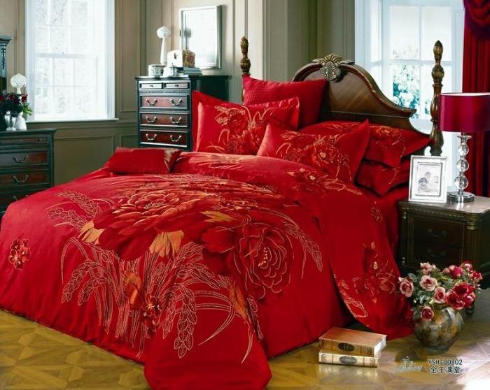 3d red floral comforter bedding set king size queen - King size bed sheet set ...