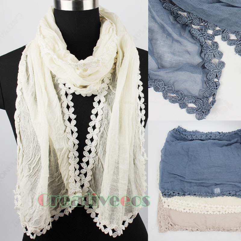 New Stylish Vintage Unique Fashion Women s Cotton Comfortable Long Scarf Shawl With Lace Trim