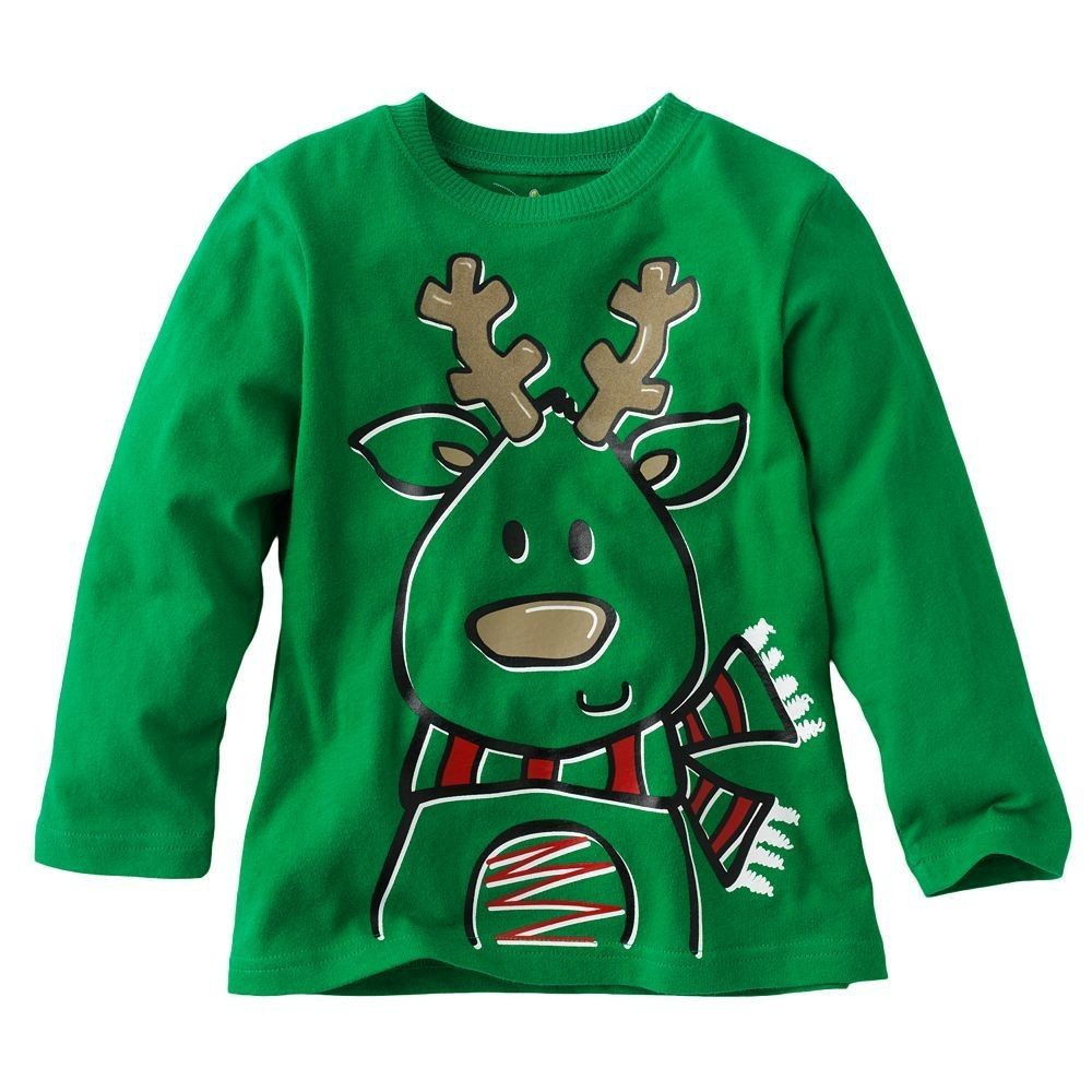 2013 christmas boys t shirt santa long sleeve tshirt children's t-shirts kids tee tops girl jumper sweatshirt jersey M1700