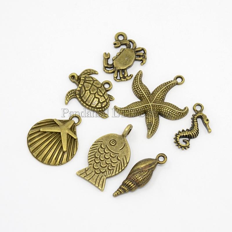 Mixed Ocean Antique Bronze Tibetan Style Alloy Pendants, Helix, Sarfish, Shell, Sea Horse, Crab, Fish and Tortoise,(China (Mainland))