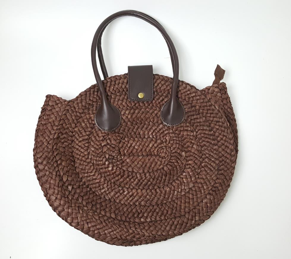 33x32CM braid decoration zipper soft beach bag touring handbags straw bag the cane woven A2379(China (Mainland))