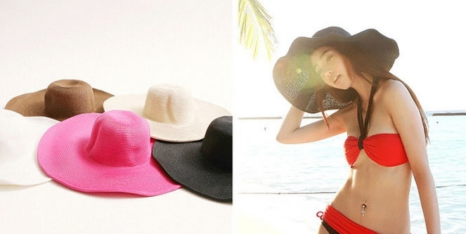 Wholesale 2015 Women's Ladies' Foldable Wide Large Brim Floppy Beach Hat Solid Sun Straw Hat Cap Women female Cap with big bow(China (Mainland))