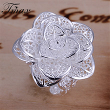 Hot Marketing Fashion Silver Plated Rose Flower Plant Jewelry Design Rings Romantic Trendy Accessories for Women HFNE0898