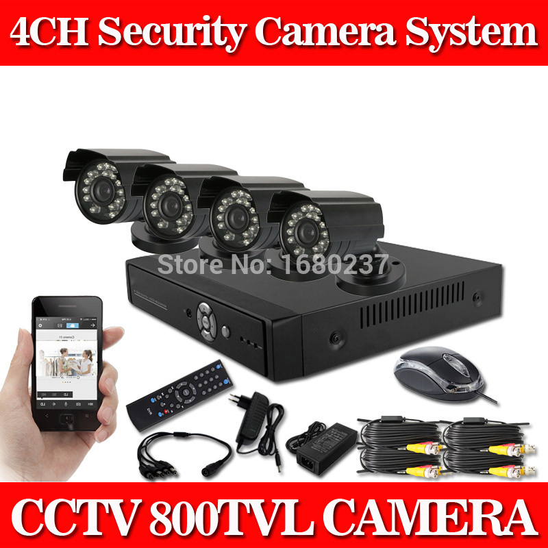 4 Channel Surveillance 4pcs outdoor 800TVL CCTV DVR kit Waterproof Security IR Cameras System(China (Mainland))