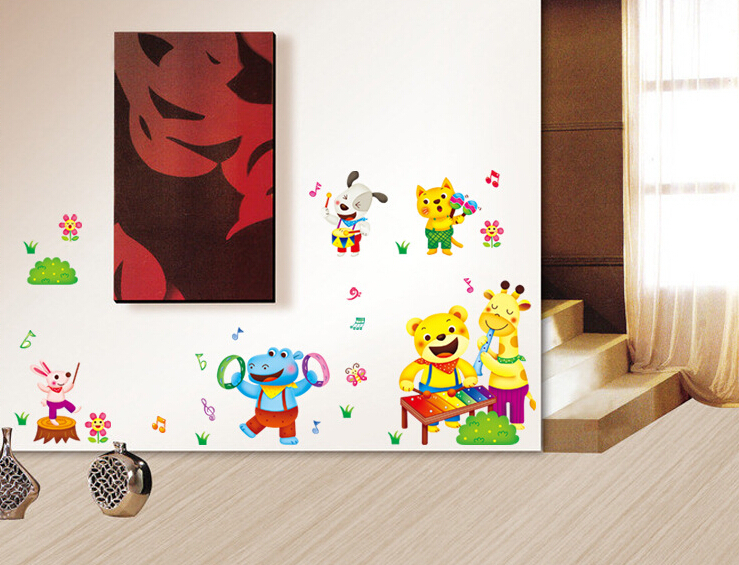 Refrigerator Laptop bookcase desk dormitory bedroom glass cartoon animal kids Wall Stickers Home Decoration papel de parede(China (Mainland))