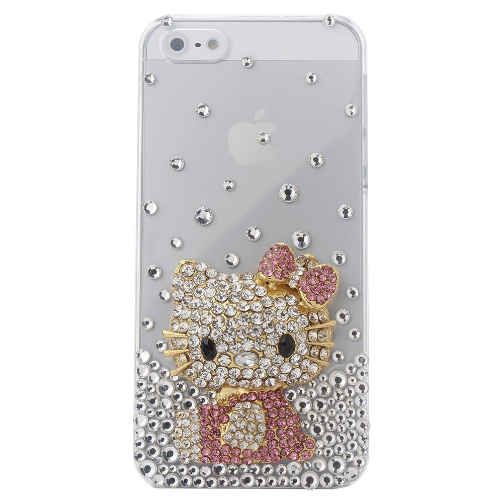 3d Bling Crystal Rhinestone Pink Hello Kitty Design Diamond Case Cover for Apple iPhone 5 Free shopping(China (Mainland))