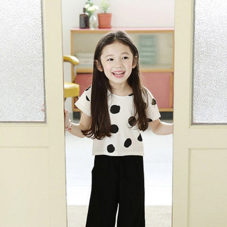 2015 New Design Girls Polka Dot Clothing Sets Summer Style Brand Kids Suit High Cotton T-shirt + Pants Wear for Girls, RC245(China (Mainland))