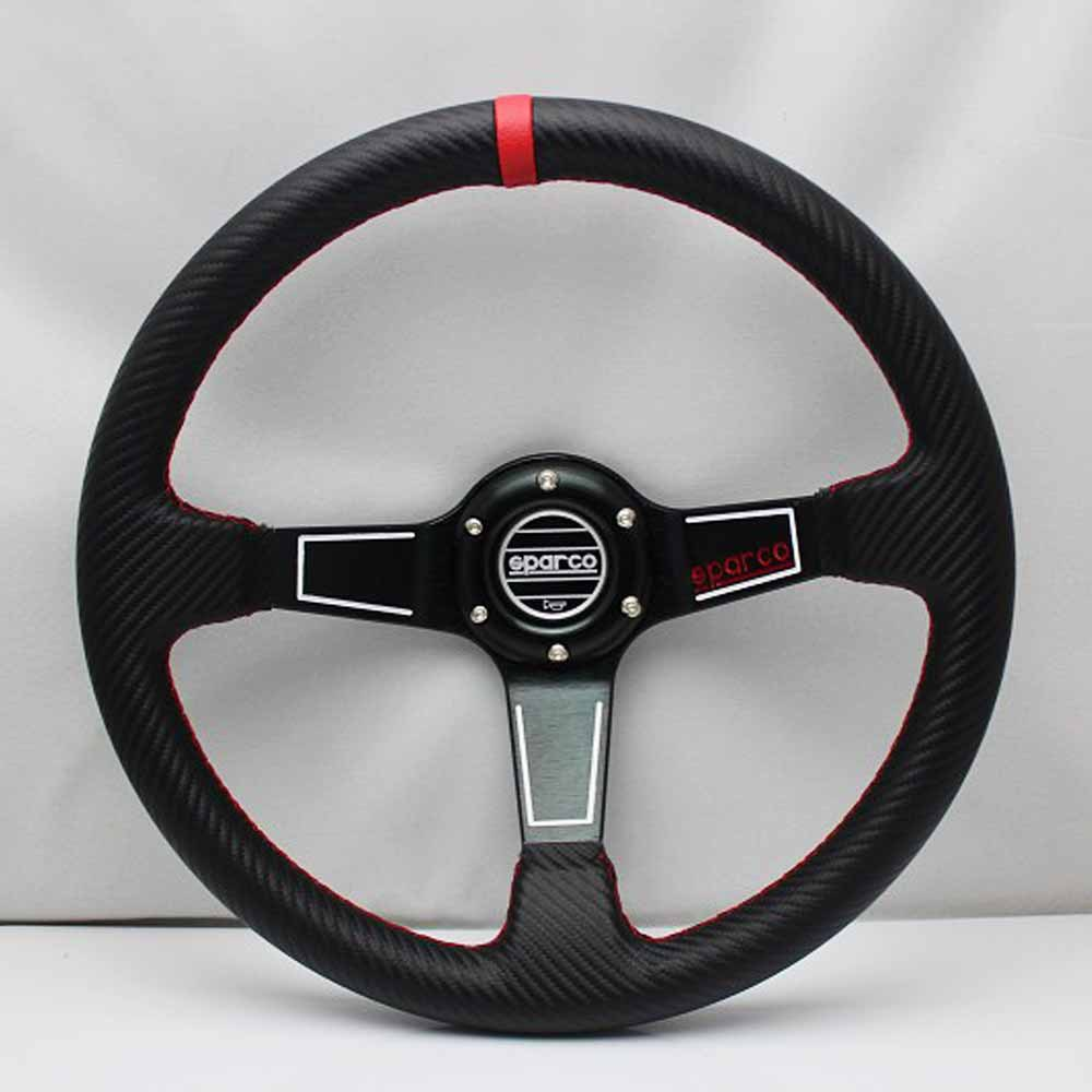 10144 The New Modified sparco car steering wheel 14 inch modified leather steering wheel a black Universal(China (Mainland))