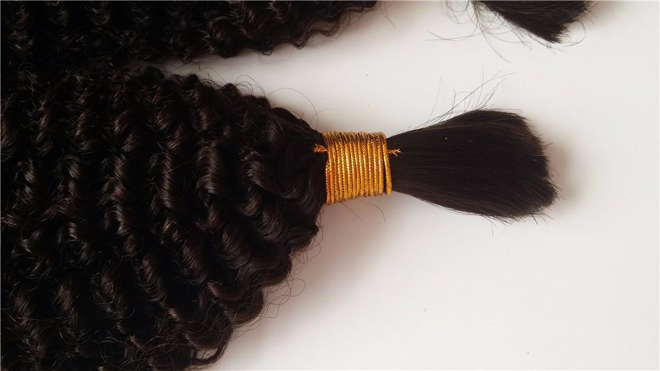 "10A Unprocessed Human Hair For Braiding Bulk No Attachment Bundles 10""-30"" Mongolian Kinky Curly Virgin Bulk Hair"