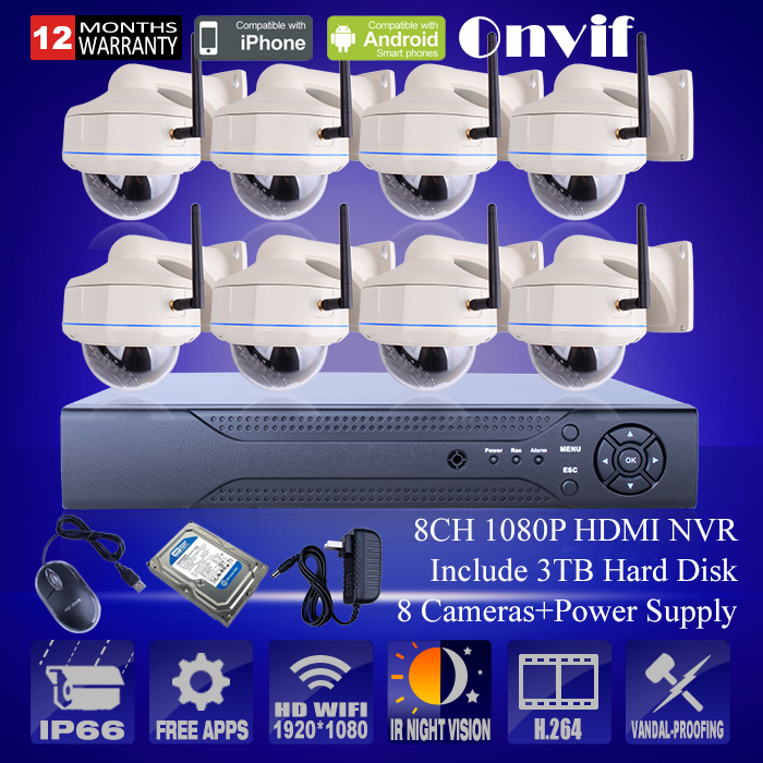 3TB HDD 8CH Wireless CCTV NVR System Onvif P2P 1080P HD Vandalproof Dome Outdoor IP Camera 30IR Video Security Surveilance Kit(China (Mainland))