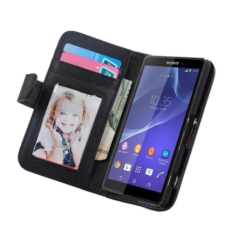 Photoframe Stand Flip Wallet Leather Case for Sony Xperia Z3 Compact W/ Card holder Cover for Sony Xperia Z3 Compact Z3 mini
