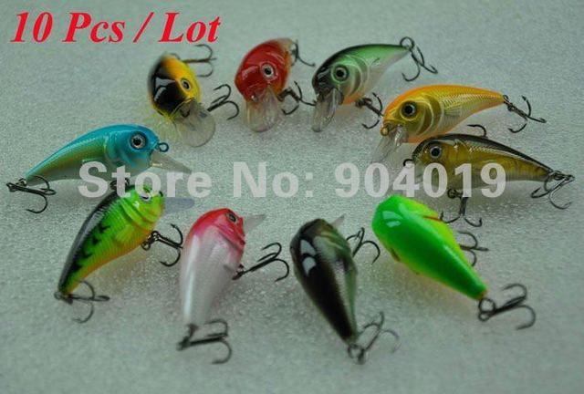 Free shipping Lots of 10Pcs Diving Fishing Hard Lure Crank Bait 50mm