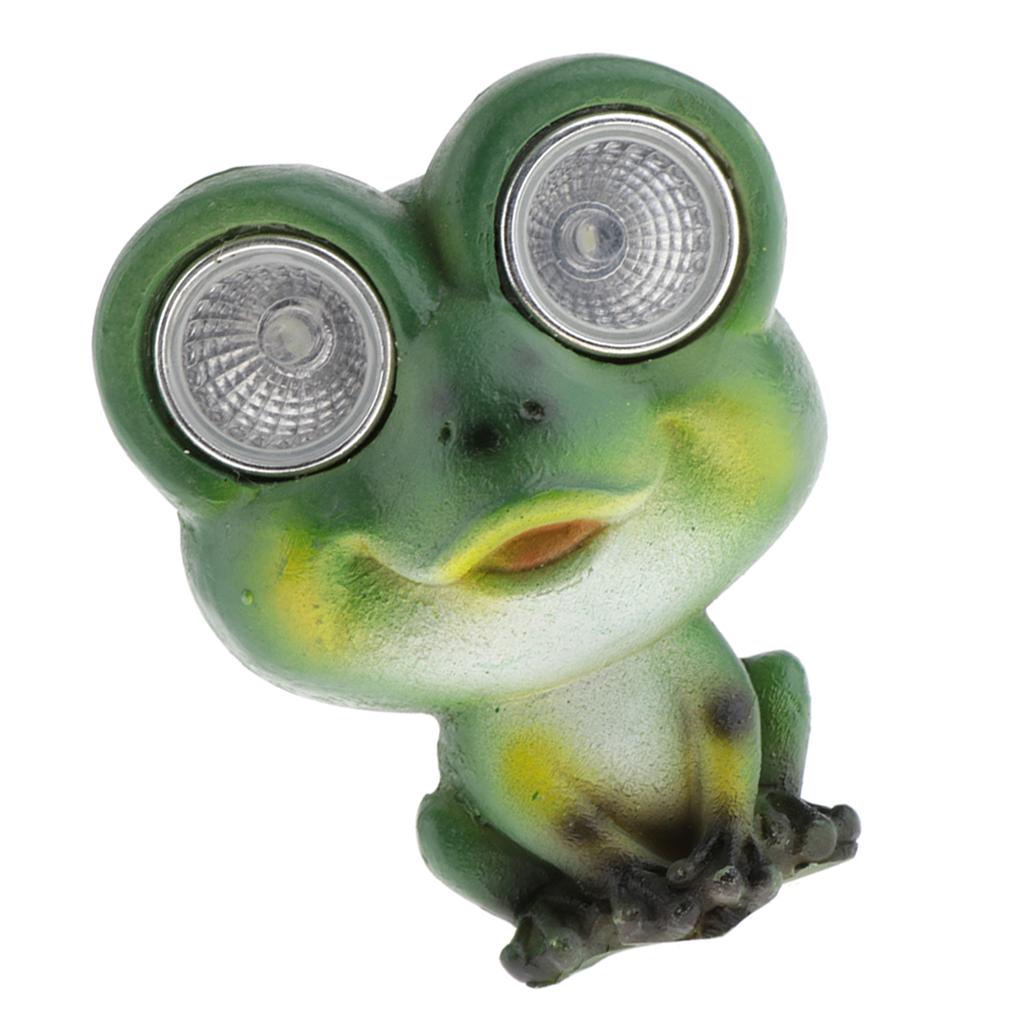 Solar Garden LED Animal Statue - Beautiful Green Frog Garden Sculpture Resin Statue Yard Art Outdoor Décor