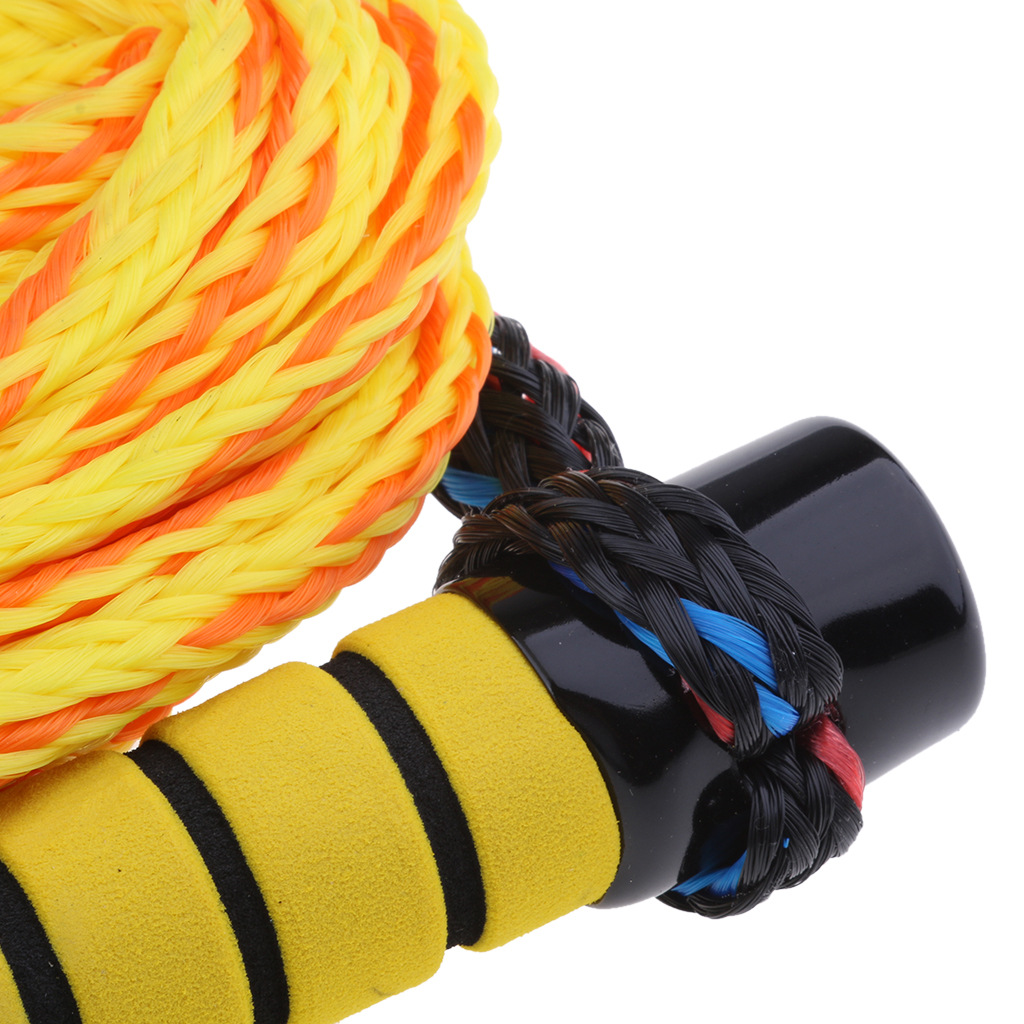 75ft Boat Wakeboard Water Ski Rope Tow Rope With EVA Floating Handle Yellow