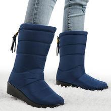 Kış kadın çizmeler orta buzağı botlar kadın su geçirmez bayan kar botları kızlar kış ayakkabı kadın peluş astarı Botas mujer(China)