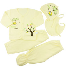 Fashion Newborn Baby Squirrel Clothes Suit (5pcs/set) Baby Boys/Girls bibs hat pants tops Cotton cartoon(China)