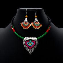 2019 Vintage ethnique bijoux seste fait à la main Antique argent Choker colliers goutte boucles d'oreilles ensemble Boho Costumes accessoires(China)