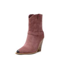 2020 yılan baskı batı kovboy çizmeleri beyaz siyah pembe Faux deri kovboy yarım çizmeler kadınlar için kama yüksek topuk çizmeler tıknaz(China)