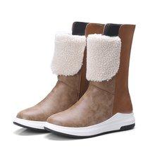 EGONERY kış yeni fashionsnow çizmeler dışında orta topuklu platformu orta buzağı çizmeler yuvarlak ayak kadın ayakkabı damla nakliye boyut 33 -43(China)