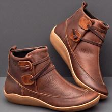 Laamei 2019 yeni çizmeler kadın ayakkabıları rahat rahat düz çizmeler kadın deri ayakkabı kış sonbahar için yarım çizmeler bayanlar Botas(China)