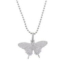 18 นิ้วลูกปัด iced OUT Bling สีขาวทองสีชมพู CZ Butterfly จี้สร้อยคอผู้หญิง(China)