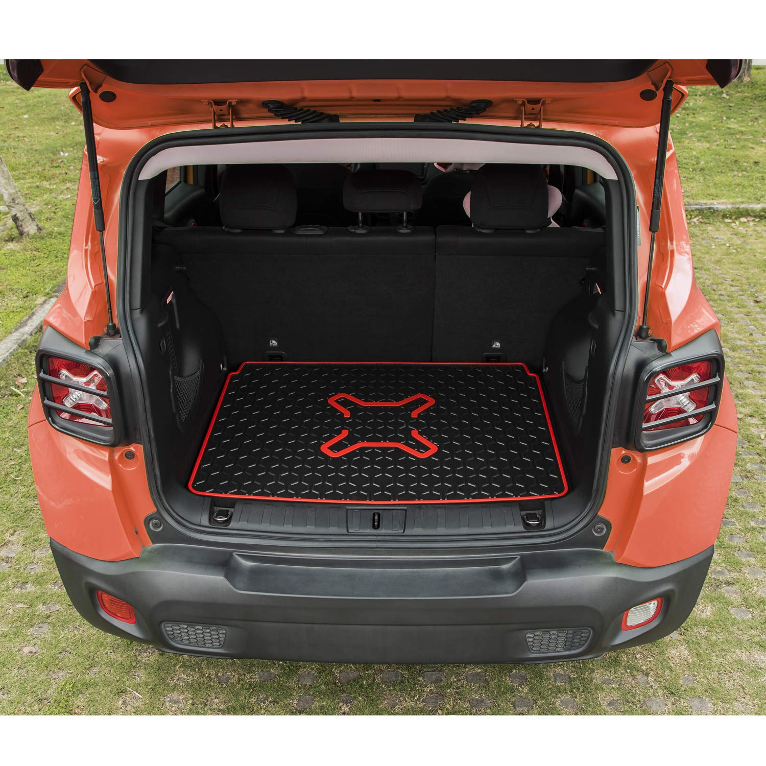HD-Mart Car Floor Mats Custom Fit for Jeep Renegade 2015 2016 2017 2018 2019 2020 Black Orange Rubber Car Floor Liners Set All Weather Protection Heavy Duty Odorless