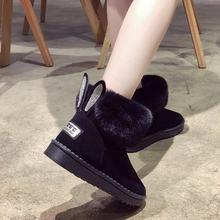 Frauen Stiefel Aus Echtem Leder Echt Fox Pelz Marke Winter Schuhe Warme Schwarz Runde Kappe Casual Plus Größe Weibliche Schnee Stiefel(China)