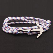 Regulowany Paracord kotwica bransoletka kobiety mężczyźni Charm bransoletki stop kotwica Nylon Rope Chain opaska na ramię w stylu Vintage bransoletki i Bangles(China)