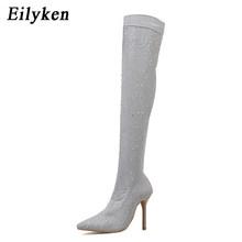Eilyken 2020 Fashion Runway Kristall Stretch Stoff Socke Stiefel Spitze Zehen Über-die-Knie Ferse Oberschenkel Hohe Hingewiesen kappe Frau Boot(China)