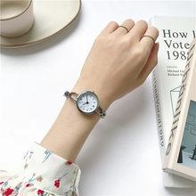 Mode Vrouwen Horloges Dial Ontwerp Creatieve Jurk Quartz Horloge Ulzzang Merk Silver Classic Dames Lederen Polshorloge(China)