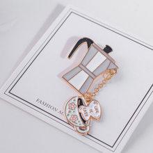 1 PC Kartun Enamel Kopi Bir Anggur Merah Minuman Jus Fashion Logam Bros Pin Lencana Kerah Pin Perhiasan Hadiah(China)