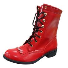 Kadın bayanlar Vintage Martin botları deri fermuar orta buzağı çizmeler kadın kısa kovboy motosiklet Boots ayakkabı kadın botas mujer(China)
