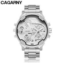 Reloj de lujo de marca superior de Cagarny, reloj deportivo de cuarzo para hombre, reloj de pulsera resistente al agua de acero dorado, reloj militar Masculino(China)