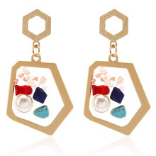 Classical Statement Jewelry 2019 Pearl Brincos Resin Earrings For Women Round Geometric Crystal Flower Korean Heart Earrings(China)