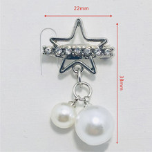 Pentagram Bintang Liontin Mutiara Bros untuk Wanita Korea Fashion Perhiasan Berlian Imitasi Rumbai Pin Bros Aksesoris Pakaian Bros(China)