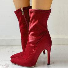 Thương hiệu thiết kế nam nữ người phụ nữ Plus Lớn Size Lớn 32-48 mắt cá chân giày mỏng Giày cao gót gợi cảm Đảng vũ hội Ủng Elastc Mút giày(China)