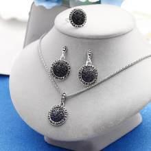 1 סט בציר ריינסטון שרשרת עגילי צמיד טבעת סט בוהמיה שחור שבור אבן חתונת תכשיטי סט כלה תכשיטי סט(China)