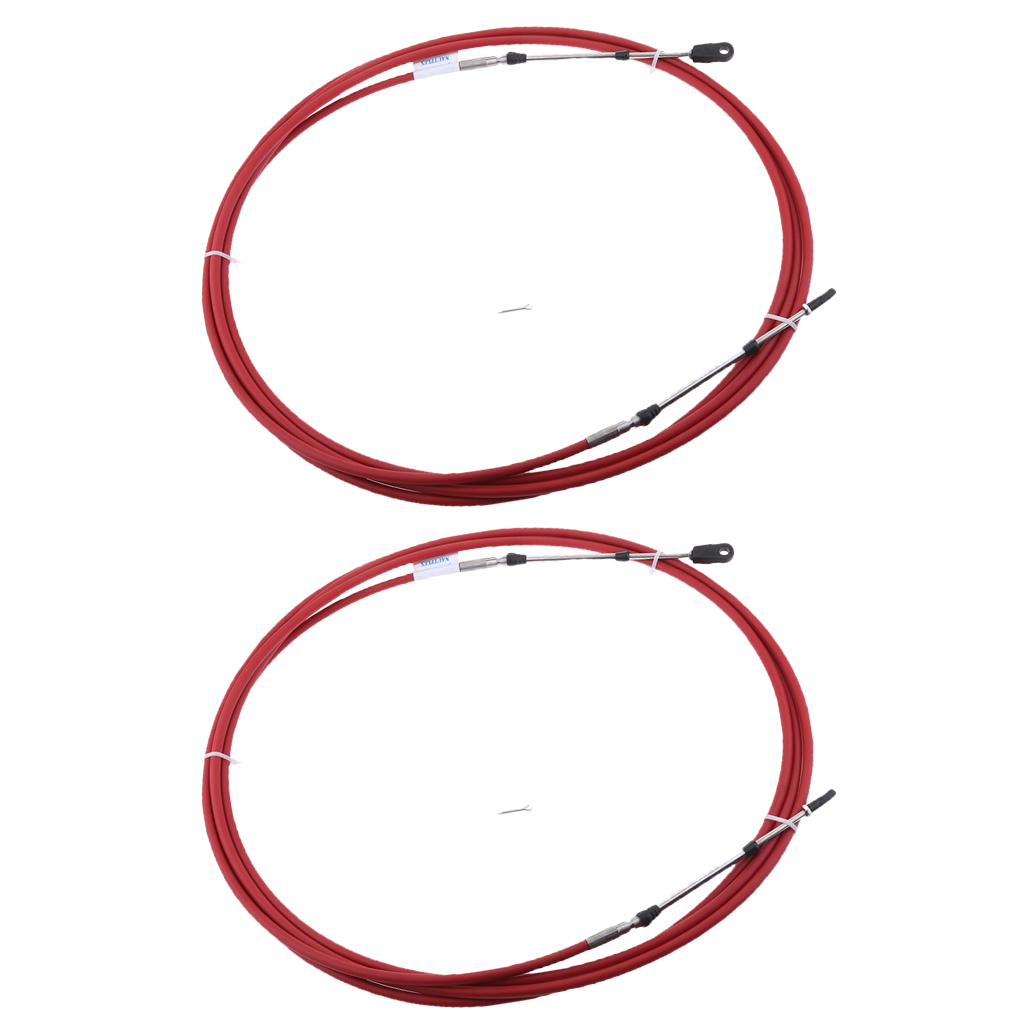 2pcs Universal Marine Throttle Control Cable for Boat Motor Outboard Engine Control Lever - 8 Foot 2.4 Meter (Red)