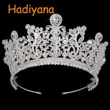 Hadiyana 2018 新しい AAA CZ の結婚式の王冠銅高級ラインストーンブライダルヘアティアラ花広がる女性の王冠パーティー BC3797(China)