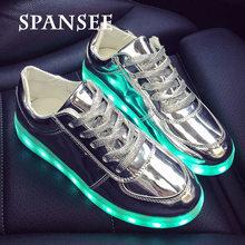 גודל 27-42 ילדי LED נעלי לנערים USB מטען זוהר ילדים בנות סניקרס זוהר מזדמן אור נעליים עם LED בלעדי נשים(China)