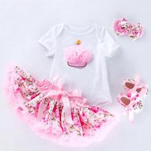 Платье-пачка принцессы для маленьких девочек комплект одежды на день рождения для маленьких девочек, белый комбинезон + фиолетовое Кружевн...(China)