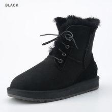 INOE Mode Schaffell Wildleder Leder Wolle Pelz Gefüttert Frauen Casual Kurze Knöchel Winter Stiefel für Damen Spitze Up Schnee Stiefel schuhe(China)