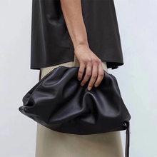 Mulheres saco de embreagem moda envelope clutch preta bolsa do couro genuíno designer de bolsas de luxo mulheres sacos de mão nuvem saco de tote(China)