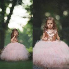 Розовое золото, блестки, цветок, платья для девочек 2020, пышное платье с рукавами-крылышками для маленьких девочек, румяна, тюль, бальное плат...(China)